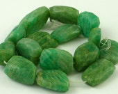 Amazing huge faceted amazonite nugget beads 21-27mm 1/2 strand
