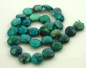 Smooth polished chrysocolla center drilled briolette beads 14mm 1/4 strand