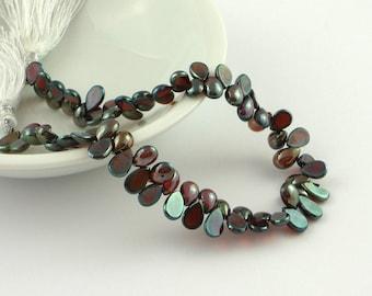 SALE Smooth polished mystic garnet flat back briolette beads 7-8mm set of 10