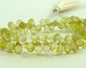 Lemon quartz faceted teardrop briolette beads 5-6.5mm 1/2 strand