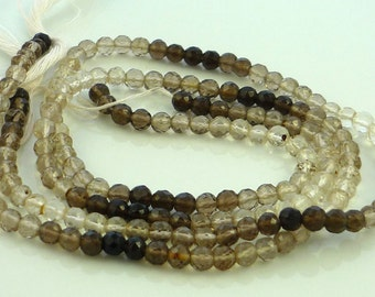 SALE  Shaded smoky quartz faceted round beads 3.5-4mm 1/4 strand