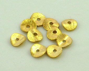 22kt gold vermeil brushed copper wavy disc beads 6mm set of 10