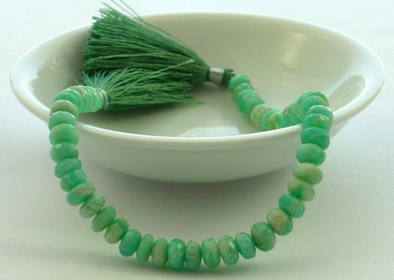 Stunning green faceted amazonite rondelle beads 6mm set of 7