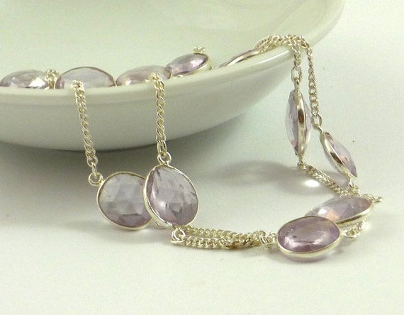 Amazing sterling silver & pink amethyst connector chain 12 inches destash
