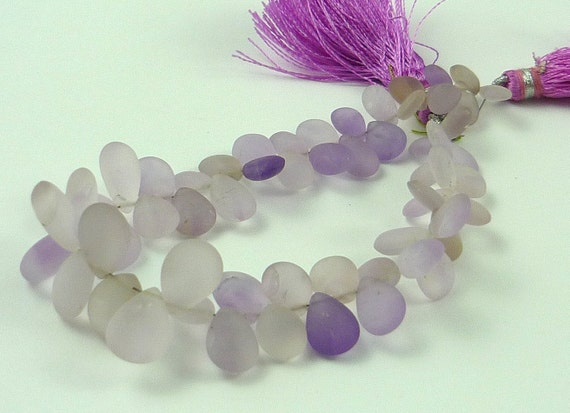 Super pretty frosted pink amethyst  briolettes 6-11mm 1/2 strand
