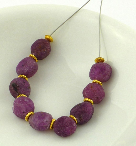 Rough ruby pebble beads 6-8mm