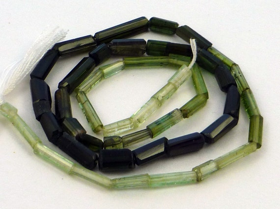 Shaded green colored  tourmaline tube beads 2-11mm 1/2 strand 7 inches