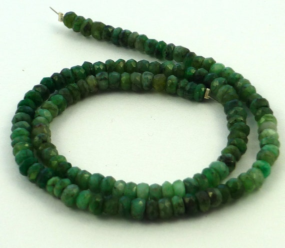 Rustic natural emerald faceted rondelle beads 4mm 1/4 strand
