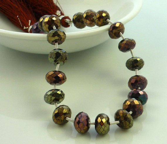 Metallic chocolate spinel large rondelles 8-8.5mm 1/2 strand