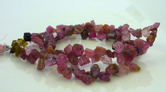 Gorgeous rough pink tourmaline top drilled crystals/ shards 5-14mm 1/2 strand