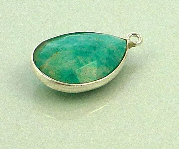 Faceted amazonite & sterling silver briolette bead 19mm x 12mm