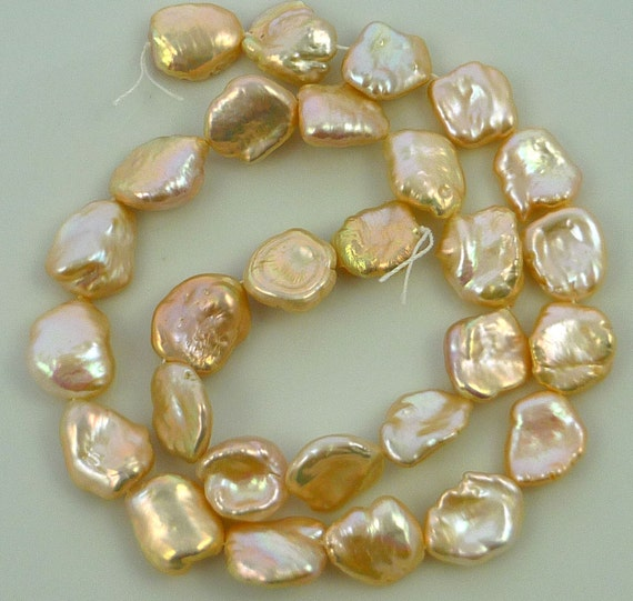 Lusterous champagne peach keshi nugget pearls 11-12mm 1/2 strand
