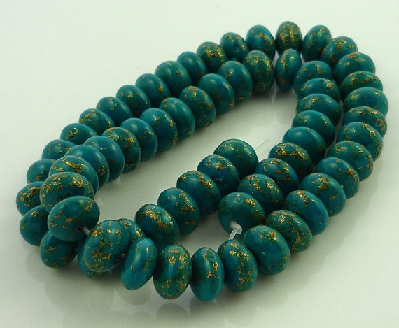 Infused turquoise rondelle beads 10mm set of 1/4 strand