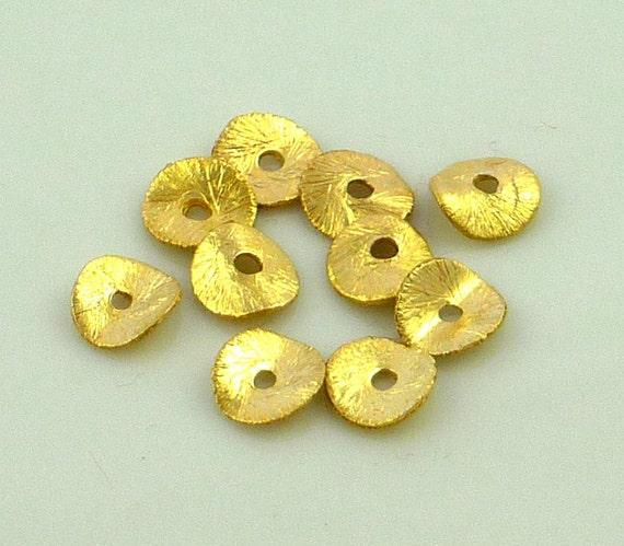 22kt gold vermeil brushed copper wavy disc beads 6mm set of 10