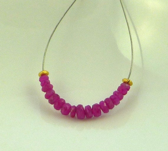 Stunning  pink sapphire faceted rondelle beads 2-3mm