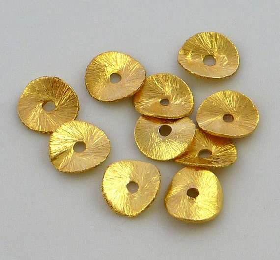22kt gold vermeil brushed copper wavy disc beads 8mm set of 10