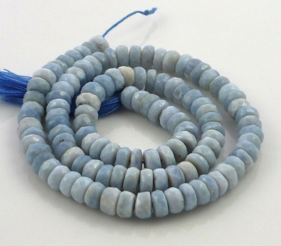 Pretty blue african opal faceter rondelle beads 5-6mm 14 strand