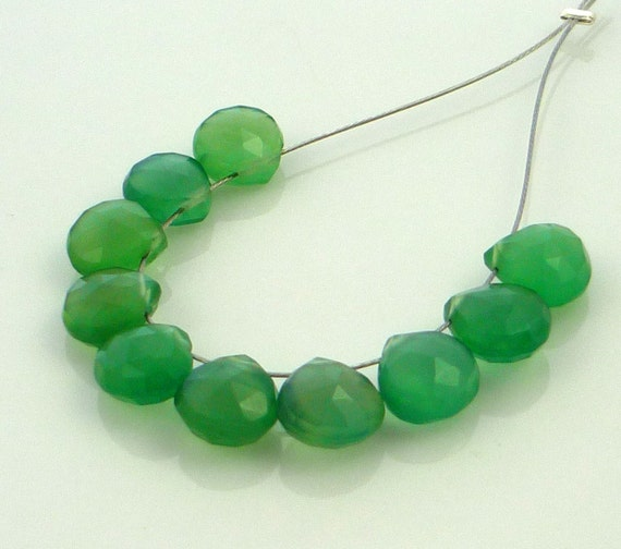Pretty parrot green chalcedony faceted heart briolette beads 8mm set of 10