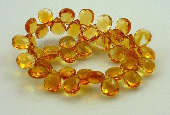 Beautiful Golden Honey Citrine Faceted Briolettes..8-9mm set of 6