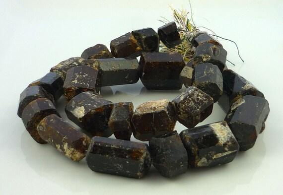 Awsome rustic chocolate tourmaline natural crystal beads 10-25mm 1/2 strand