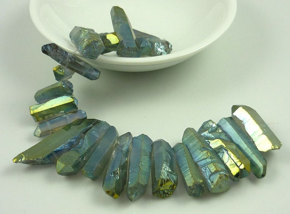 Mystic green aura quartz double drilled pointer beads 20-34mm 1/4 strand