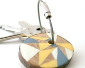 Geometric triangles pine wood hand painted keychain with stainles steel cable wire