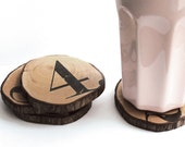 Set of 4 -Modern Wooden pine wood coasters numbered with black ink