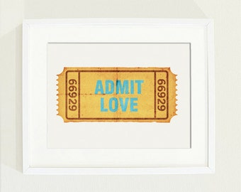 Admit Love poster on cinema ticket  with aqua font- size A4