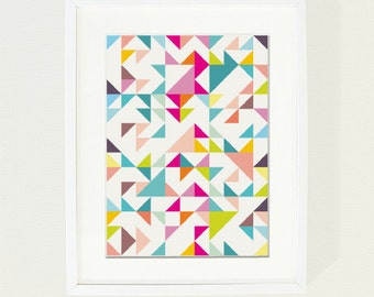 Modern Geometric print, multicolored chevrons, triangles geometric shapes size A4