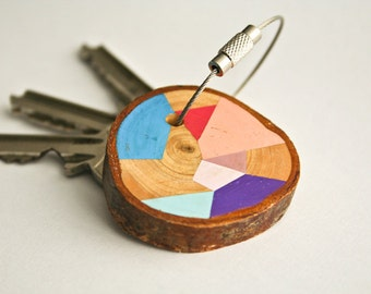 Pine  wood keychain with steel cable wire option of initial on other side keyring, pink, blue, mint, pastel purple geometric triangle shapes