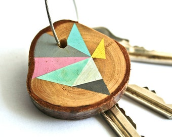 Wood keychain with stainless  cable wire option plus initial on other side keyring ,pink, blue, grey, yellow, mint geometric triangle shapes