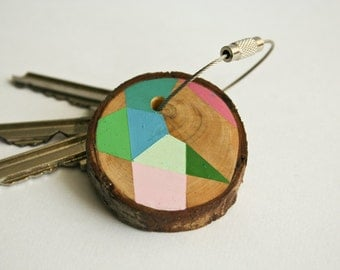 Pine wood keychain with stainless steel  wire option for cutom initial keyring , tones of pink, blue,green geometric triangle shapes