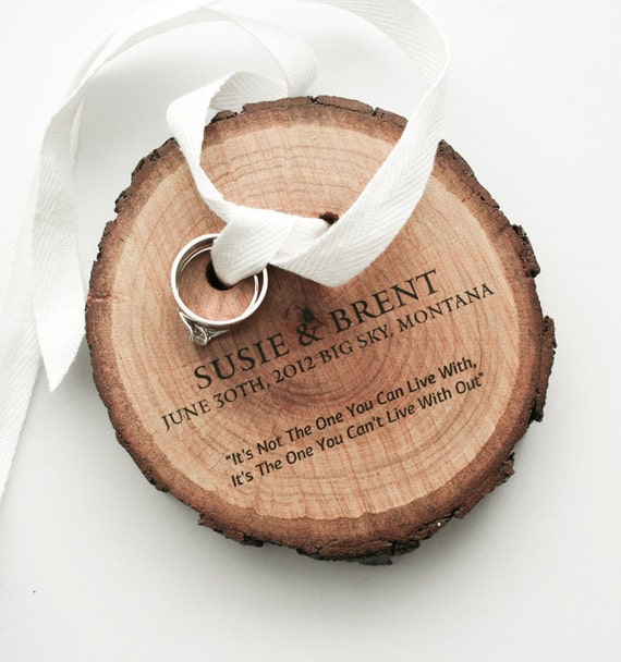 Ring Bearer from pine wood and white cotton ribbon made to order (custom made)