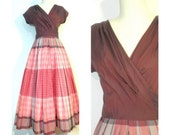 VINTAGE 1940's1950's Pink and Plum Plaid Full Length ANNETTA Gown/Dress, Sm / Med
