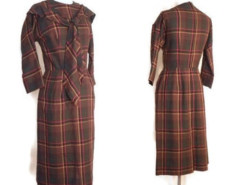Vintage 1950's/1960's Dress /  Brown, Red, and Gold Plaid Day Dress with Attached Neck Scarf by Jerell Jr New York
