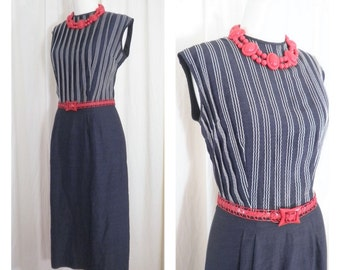VINTAGE 1950's Blue and White Fitted Wiggle Dress with Stripes, Sz M
