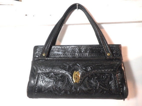 Vintage 1950's Black Hand Tooled Leather FLORES BAGS Purse w/ Brass-Tone Hardware