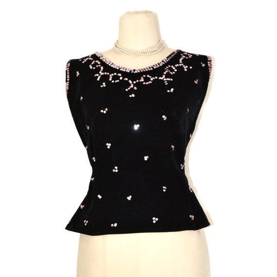 Vintage 1950's Black Velvet Sleeveless Top with Light Pink Sequined Trim, Sz M