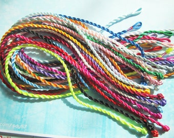 100pcs 18-20 inch  3mm assorted(more than 20 colors) satin twist necklace cords with matching ball and hole connectors