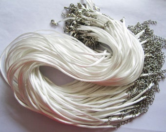 tiny small finish --50pcs 16-18 inch adjustable 2mm white satin necklace cords with lobster clasps and 2 inch extender