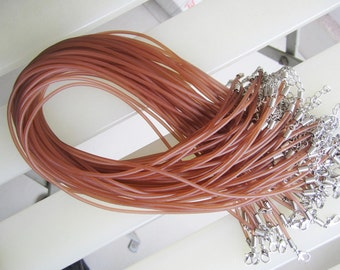 good quality--30pcs 16-18 inch adjustable 2mm brown rubber necklace cords with lobster clasps and 2 inch extender