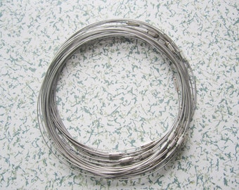 20pcs 18 inch 1mm thickness silver stainless steel round choker necklace wires with screw clasps
