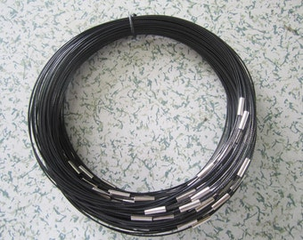 MAGNET clasps--10pcs 18 inch black 1mm thickness stainless steel round choker necklace wires