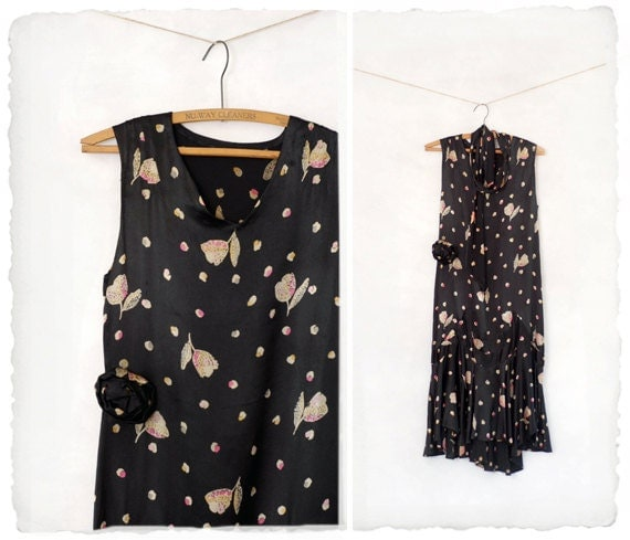 1920s dress // 1920s tiered black floral gown
