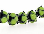 Hole 3mm 5Beads Lampwork beads green black view beads Handmade jewelry designs  European Style