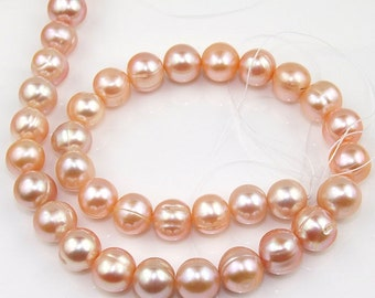 Baroque Freshwater pearl Pink Cultured Pearl 10mm Gemstone Beads Strand