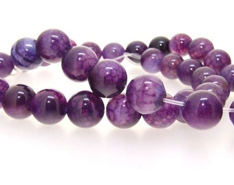 Purple Dragon Agate Round 10mm Gemstone Beads , Round Agate Strand Full strand ,Purple Agate Beads