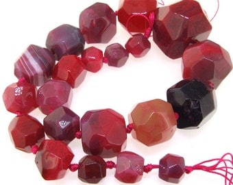 Big Faceted Pink Agate 35mm Gemstone Beads Strand 18inch