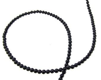 Round Black Agate 4mm Gemstone Beads One Strand