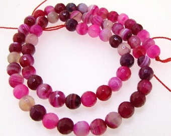 Faceted Round Purple Agate 6mm Gemstone Beads One Strand